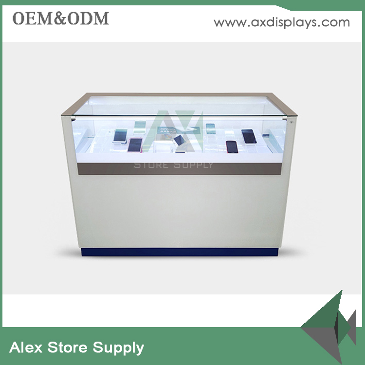 shop counter table design to display mobile phone&handphone display showcase