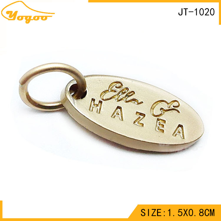 Wholesale Custom Engraved Oval Alloy Matt Gold Metal Jewelry Pendant Tags