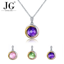 Natural Semi Precious Gemstone Rose Quartz/ Amethyst Crystal Stone Necklace Pendant 18K Gold Plated 925 sterling silver Jewelry