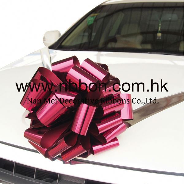 Factory Direct Wholesale Red Gold Pre-made Metallic Car Ribbon Bow for New Car Decoration
