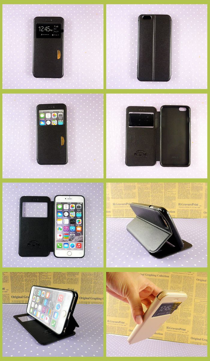 Leather cell phone case for apple iphone 6 plus 5.5 inch black back cover for iphone 6 with view window wholesale