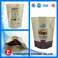 Stand up aluminium foil resealable foil bag for dried food packaging with printing