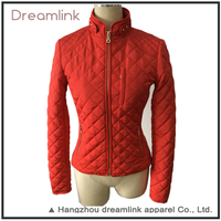 Excellent quality red outdoor slim fit womens Padded coats jacket