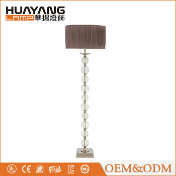US Home 2108-F Valence fabric lampshade hotel standing decorative modern glass floor lamp
