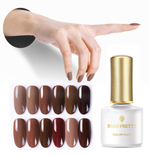 BORN PRETTY Caramel Coffee Pure Nail Gel 6ml Cafe Series Pure Nail Gel Nail Art Soak Off UV Gel Polish