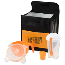 Plastic salad container with cooler bag,Salad & noodle lunch set