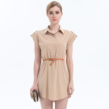 Wholesale 2018 New Summer Lapel Slim Slim Waist Short Sleeve Dress
