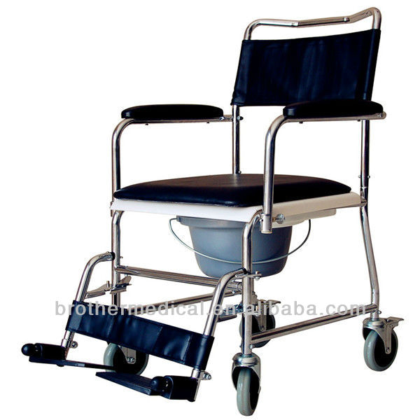 Best seller transport commode wheelchair with toilet BME612