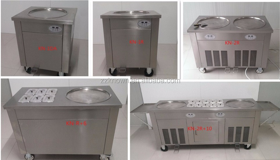 hot selling professional commercial fried ice cream roll machine/ square pan ice cream roll fry machine with high efficiency