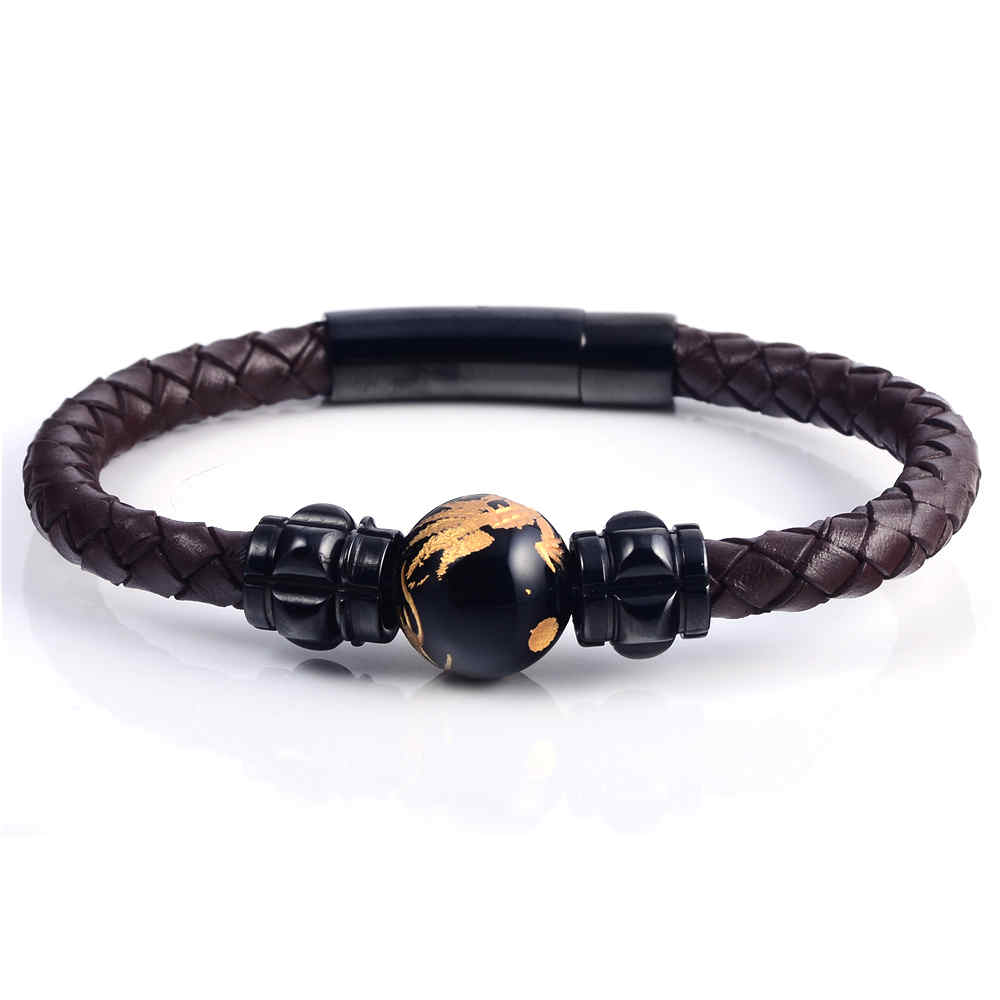 Trendy Stainless Steel Bio Magnetic Ceramic Beads Bracelet