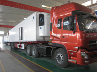 30-45Tons thermo king large refrigerator truck/3 axle semitrailer/container delivery truck