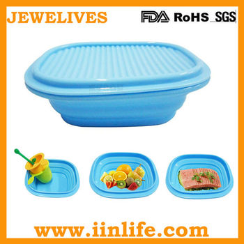 Household microwave bowl,silicone collapsible bowl with lid