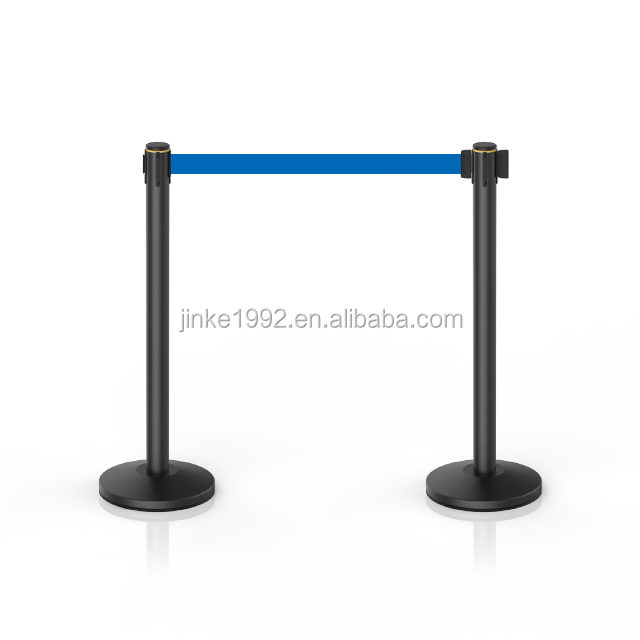 Red Twisted Rope Handrail Stanchions Retractable Belt Barrier Stand With New Style Cassette
