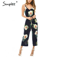 Simplee 2017 Strap floral print v neck wholesale playsuit Fashion slim romper for Summer beach