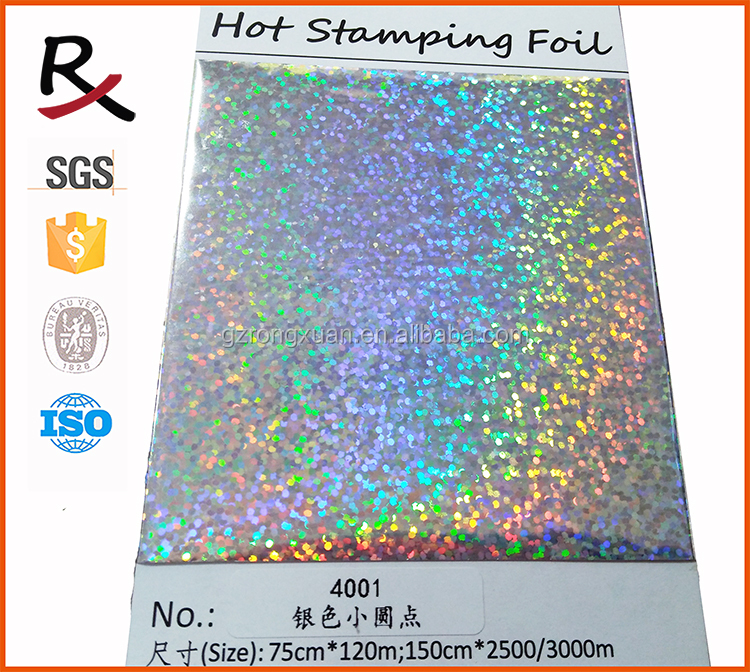 4001 silver holographic small dot heat transfer foil on garment