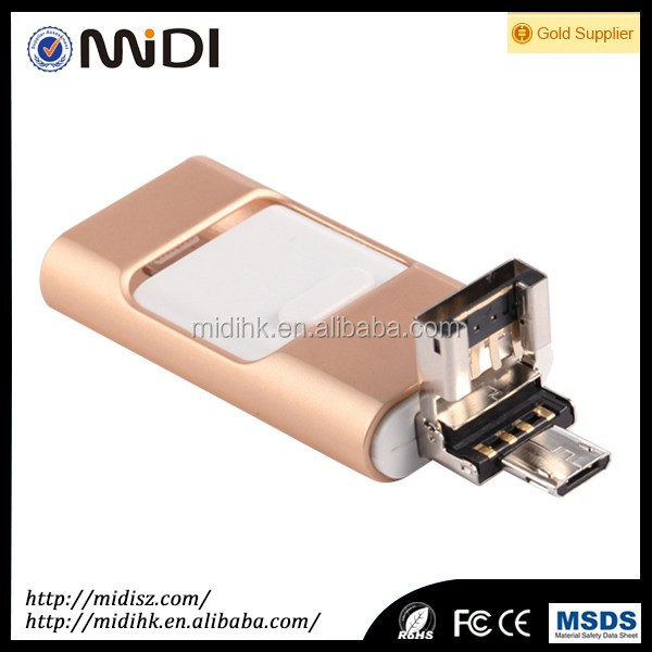 Promotional Aluminium USB Flash Stick MDY-PG-02 New Arrival 3 in 1 4GB-128GB Metal OTG USB iFlash Drive for gift