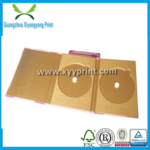 Custom Fashionable Design Paper Material CD Case,Wedding CD Box,Decorative Wooden DVD Case