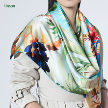 Chinese High-end Custom Digital Printing Square Satin Silk Scarf For Europe Women
