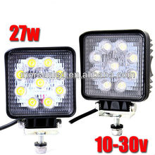 4*4 accessories super bright led work light! 27watt square led flood light, 24volt 27w led working light for truck,atv,suv,sxs