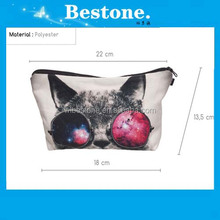 Polyester Printing Drawing Pencil Pen Case Cosmetic Makeup Bag Cat Drawing Case