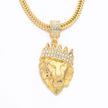 Crown Lion Head Hip Hop Man necklace