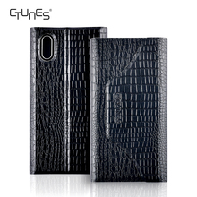 Handmade Genuine Leather Case For iphone X,Premium Croco Textured Pattern Folio Flip Wallet Case With Card Slots For iphone X