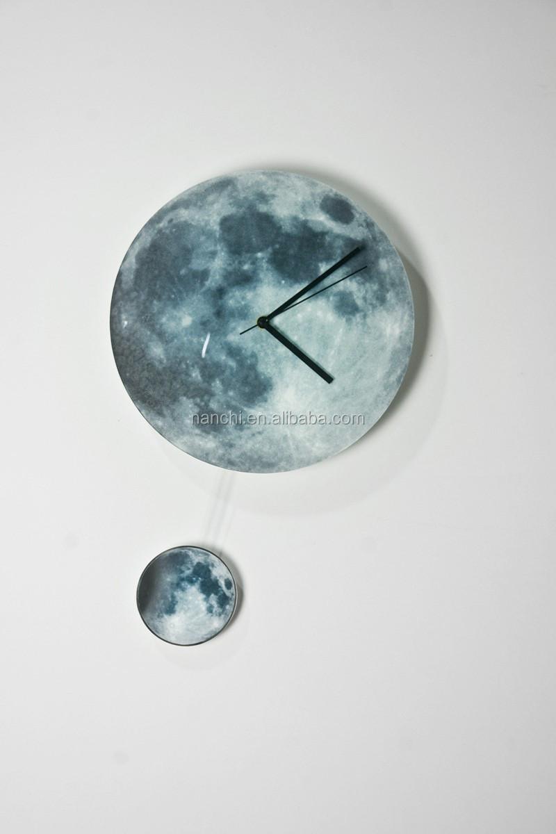 Glowing Full Moon Wall Clock With Crescent Moon Pendulum 3d Acrylic