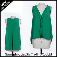 Free sample V-neck green color sleeveless chiffon lady blouse latest styles women top for lady