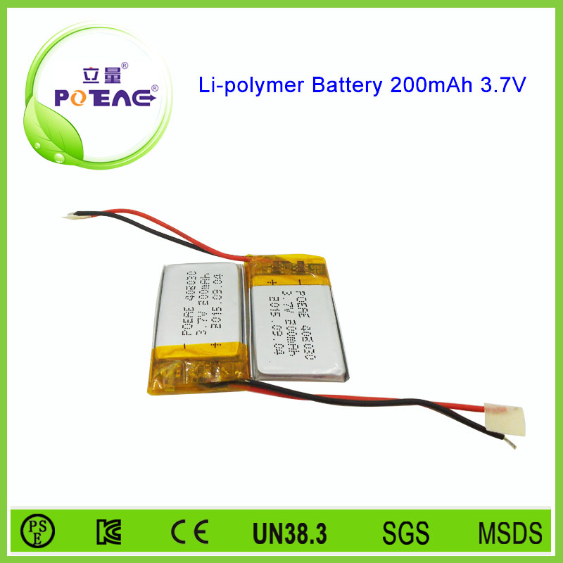 Custom 402030 3.7v 200mah li-polymer battery for pen camera