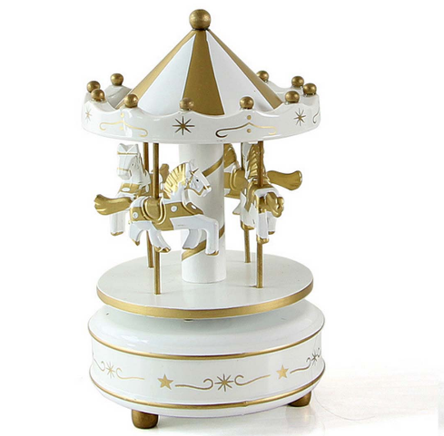 Wooden Merry-Go-Round Carousel Music Box For Kids Wedding Gift Toy