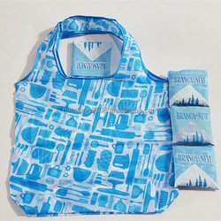 190t promotional blue sky 45x66cm eco friendly polyester fabric folding supermarket shopping tote gift bag