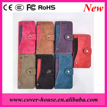 2016 Newest Design Retro Frosted Flip Leather Wallet Case with Credit card Slots for iPhone 6 6S