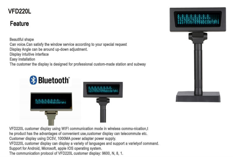 POS EPOS USB VFD Customer Pole Display for Point of Sale