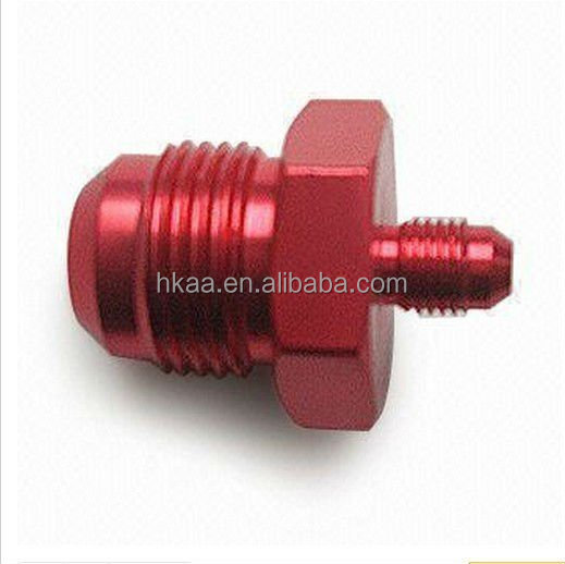 CNC machining 7075 aluminum red anodized fitting, bolt, adapter