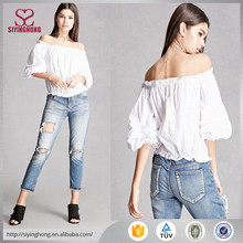 2017 new design young girls top style women white blouse off shoulder