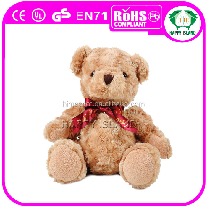 HI CE High quality cute plush stuffed toys golden bear with ribbon