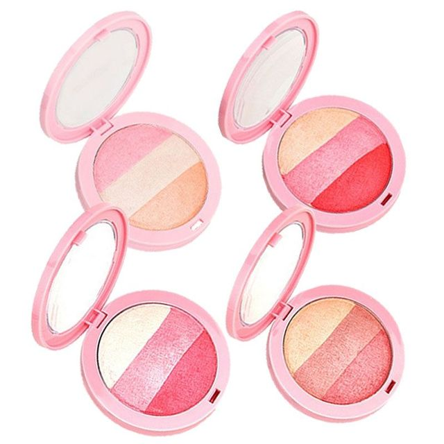 3 Colors Baked Blush Makeup Cosmetic Natural Baked Blusher Powder Palette Charming Cheek Color Make Up Face Blush