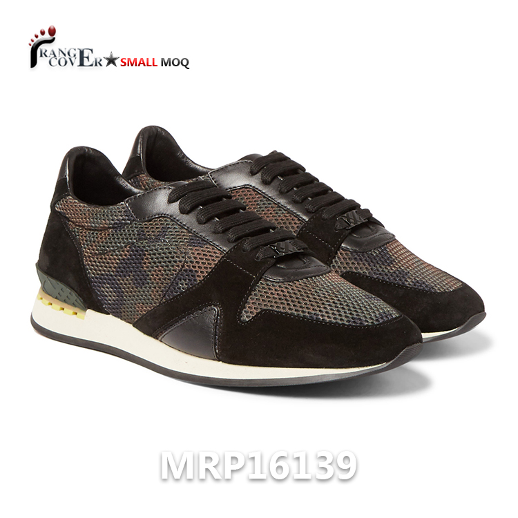 Modern Camouflage Printed Mesh Suede Leather Trim Sneakers Shoes Women