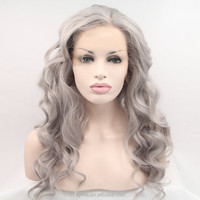 Top quality side part gray synthetic hair front lace wig,grey hair lace wig