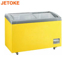 JETOKE Curved Glass Door Ice Cream Display Freezer