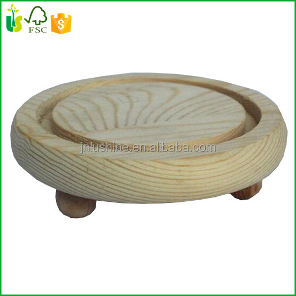 Wooden Display Shelf Stand Wood Round Base For Vase