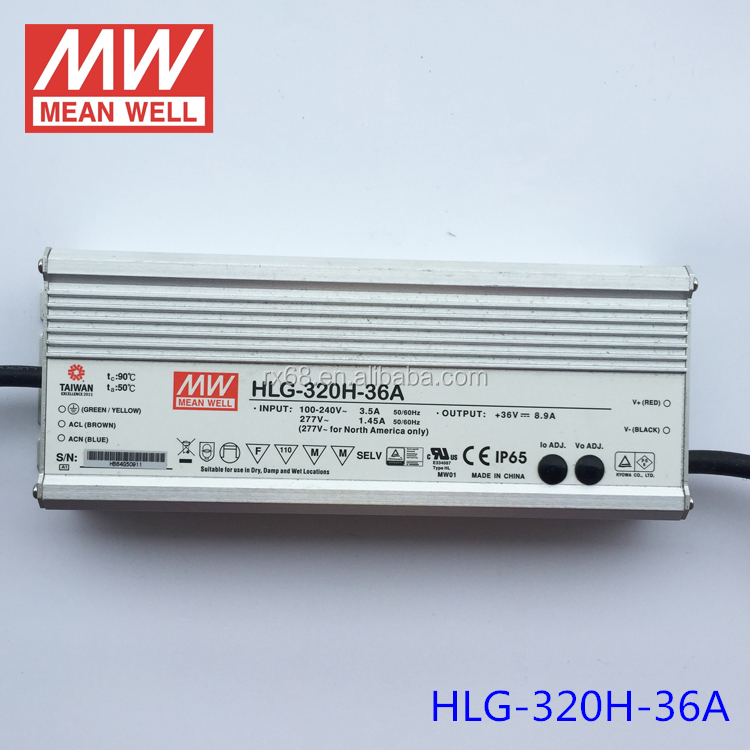 Waterproof IP65 meanwell 320w 36v led driver HLG-320H-36A