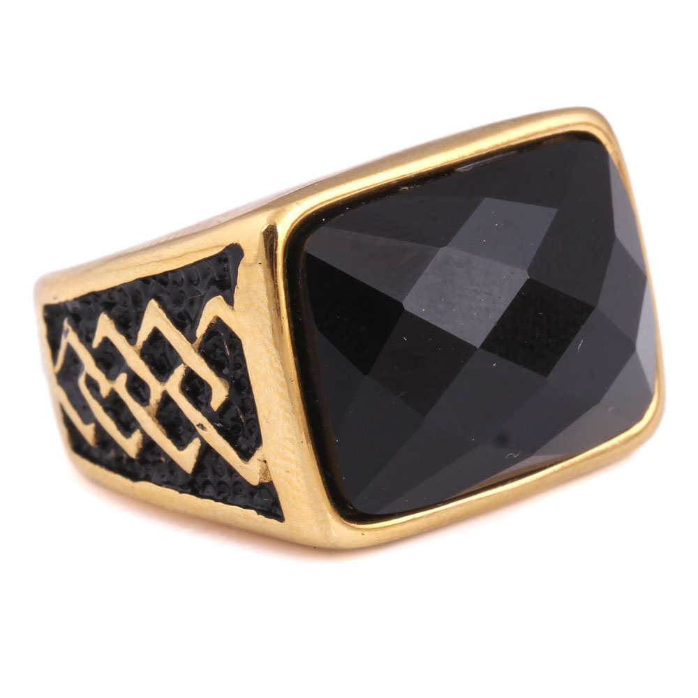 Wholesale Jewelry Stainess Steel Gold Plated Black Diamond Rings