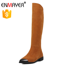 Fashion metal toe lady boots cow suede flat thigh high women over knee long boots shoes