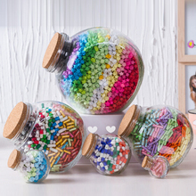 Wedding Party Favors Colorful round clear glass wishing bottles with corks.