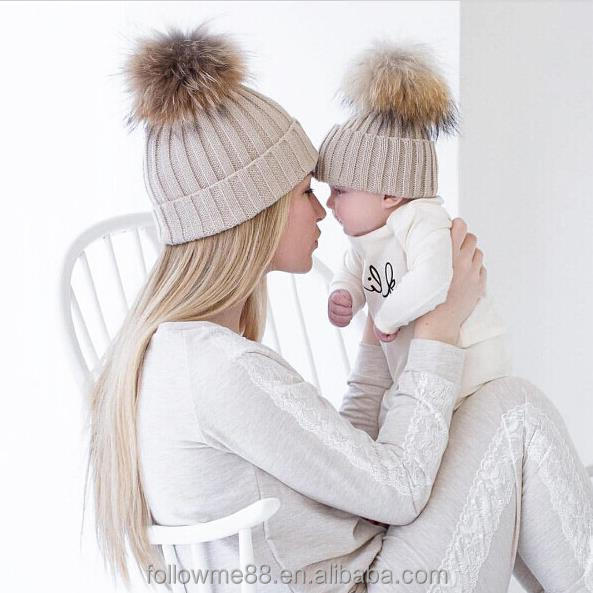 Mom and Baby Matching Knitted Hats Warm Crochet Beanie Hats Winter Mink PomPom Kids Children Mommy Hat Caps
