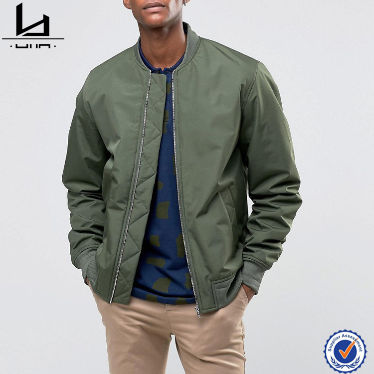 China oem service supply type drak green embroidery or print your own pattern bomber jacket wholesale