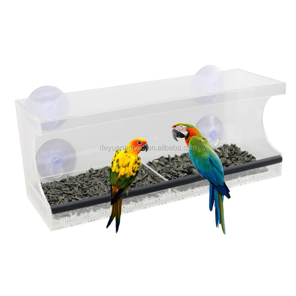 Rectangle Clear Acrylic Window Bird Feeder with Strong Suction Cups