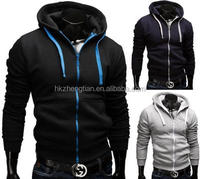 2015 New Men Custom Casual Blank Plain Sports Wear Gym Zip Hoodies wholesale