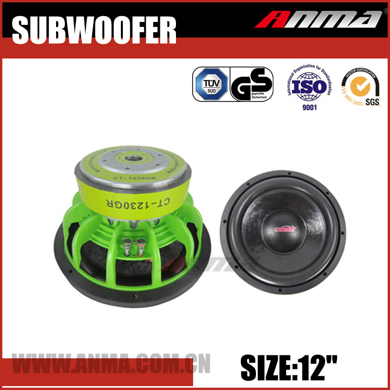 "12"" inch 1500W flat powered car speaker subwoofer"